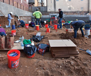 The construction site on Arch Street had beeen a church graveyard until 1860, since then, a hat factory, car repairshop, and parking lot had been above the remains.